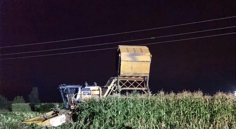 Śmierć na polu kukurydzy - kombajnista porażony prądem