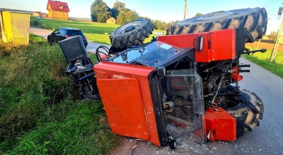 Zderzenie ciągnika rolniczego z autem
