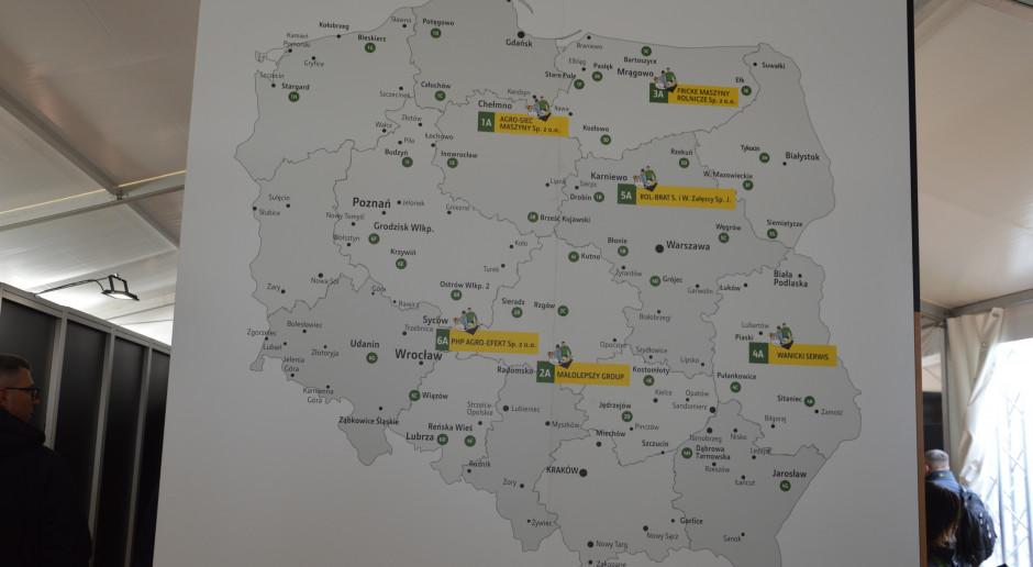 Mapa z zaznaczonymi siedzibami głównymi dilerów i ich punktów handlowych, gdzie oferowane są maszyny John Deere. Zdjęcie: Wołosowicz