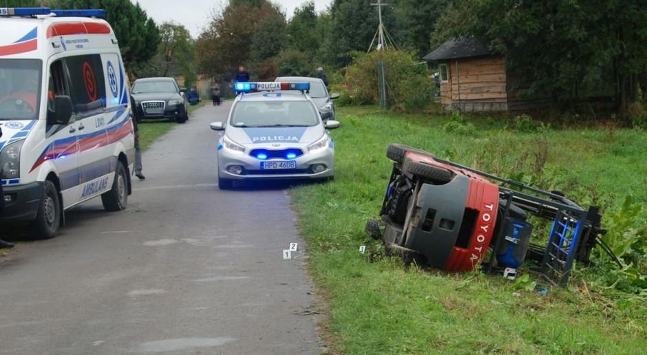 Zmarł kierowca przygnieciony wózkiem widłowym