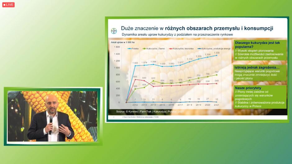 Antoine Bernet, Crop Science Country Division Head, Bayer podczas prezentowania dynamiki wzrostu powierzchni kukurydzy w Polsce prtcreen